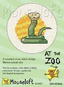 Mouseloft Snake At The Zoo cross stitch kit
